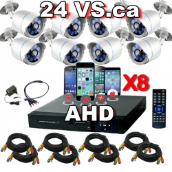 Ahd 8 cameras surveillance system with 8 outdoor ahd cameras